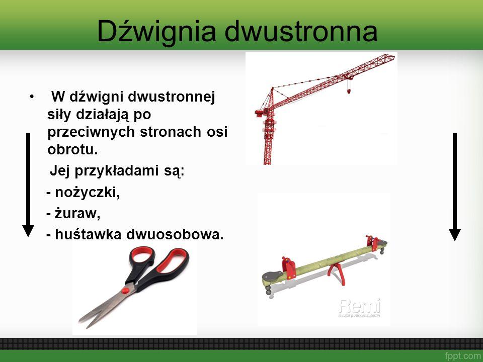 Dźwignia dwustronna W dźwigni dwustronnej siły działają po przeciwnych stronach osi obrotu. Jej przykładami są: