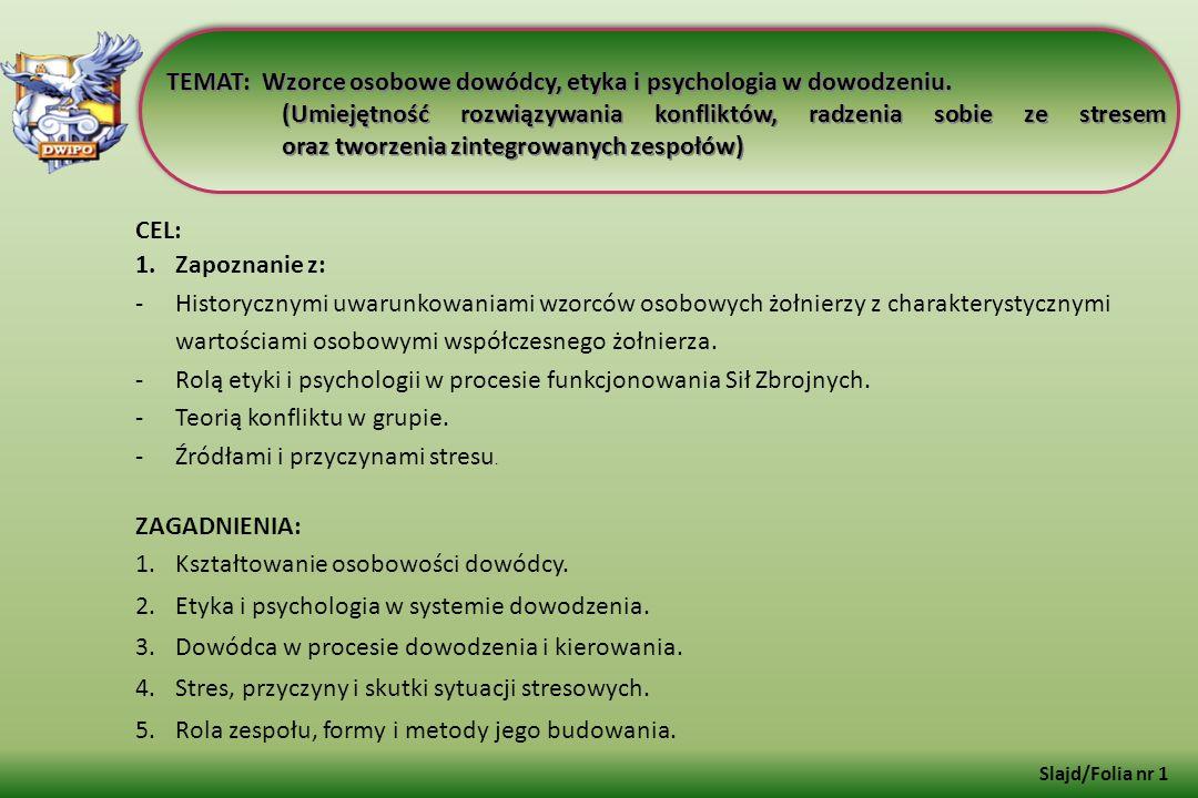 TEMAT: Wzorce osobowe dowódcy, etyka i psychologia w dowodzeniu.