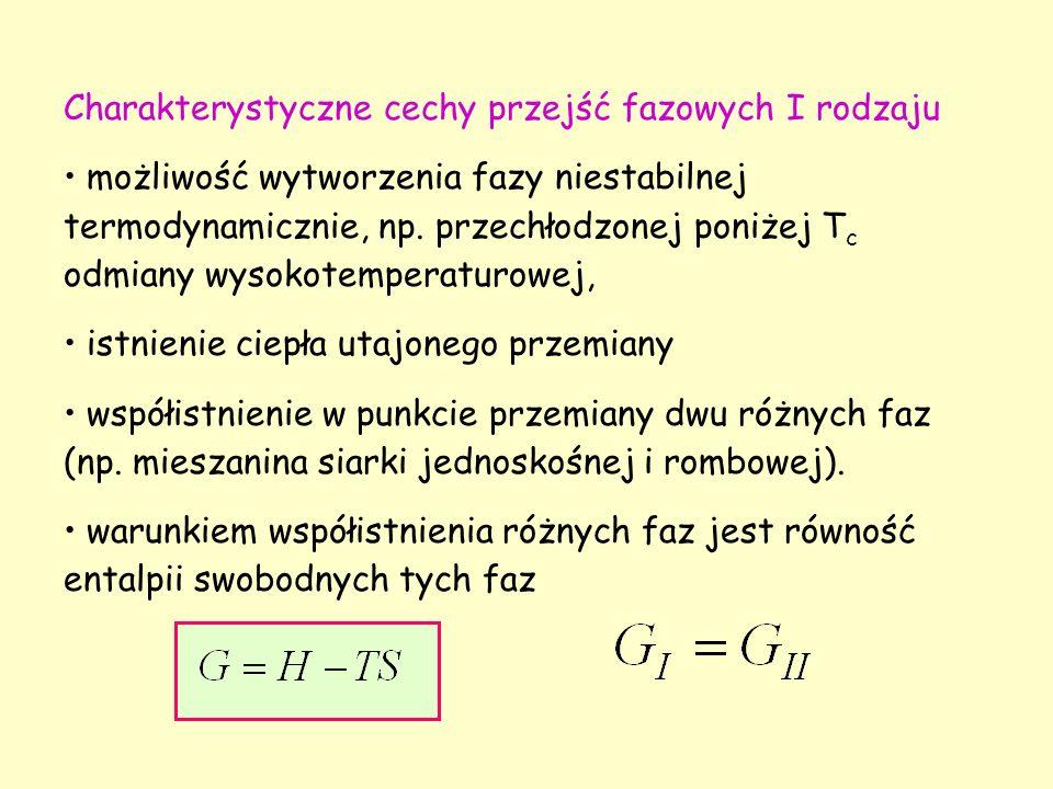 Charakterystyczne cechy przejść fazowych I rodzaju