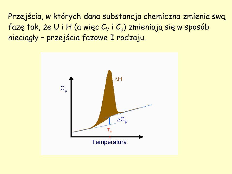 Przejścia, w których dana substancja chemiczna zmienia swą fazę tak, że U i H (a więc CV i Cp) zmieniają się w sposób nieciągły – przejścia fazowe I rodzaju.