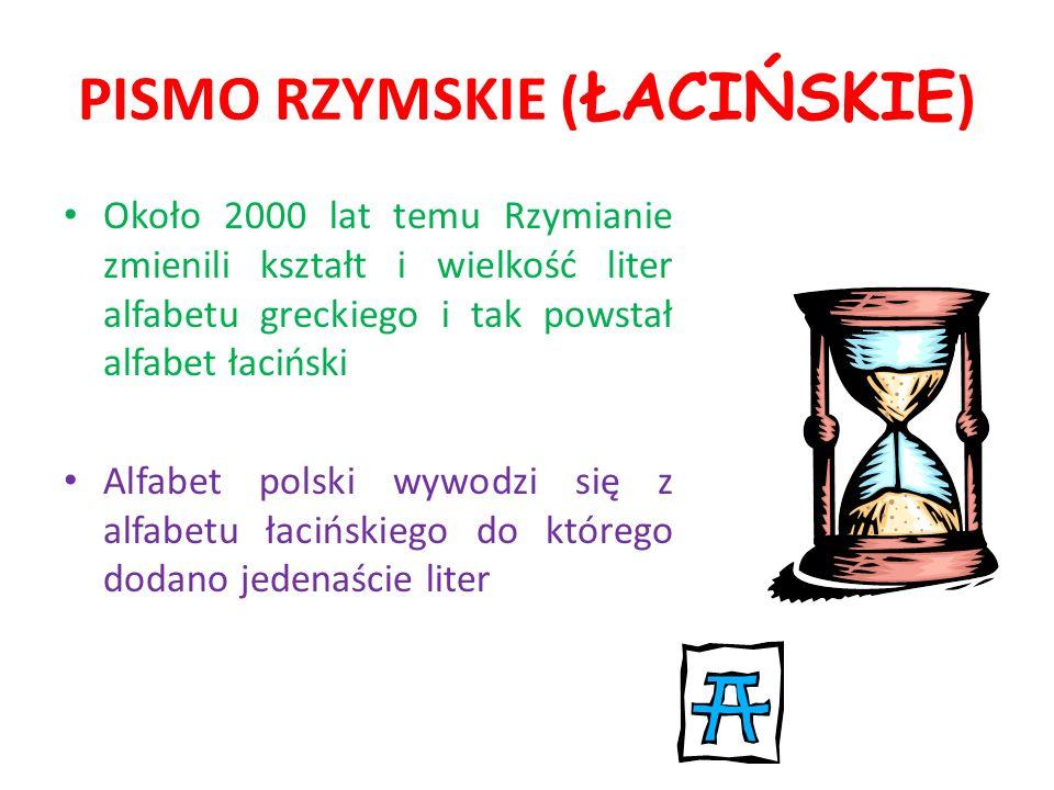 PISMO RZYMSKIE (ŁACIŃSKIE)