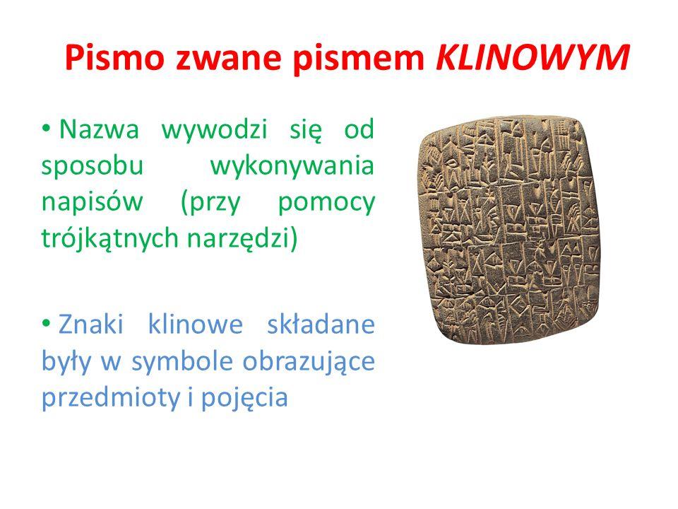 Pismo zwane pismem KLINOWYM