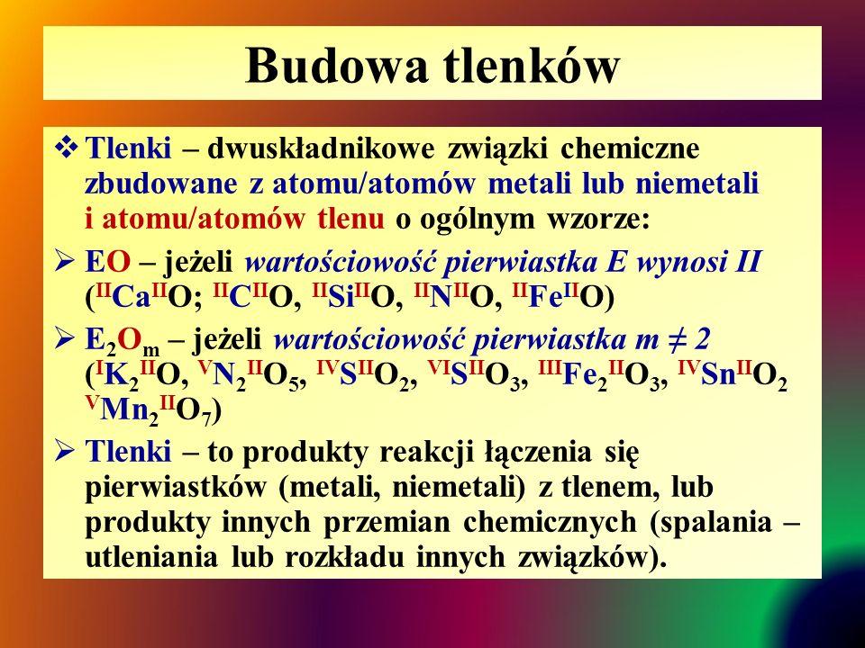 Budowa tlenków Tlenki – dwuskładnikowe związki chemiczne zbudowane z atomu/atomów metali lub niemetali i atomu/atomów tlenu o ogólnym wzorze: