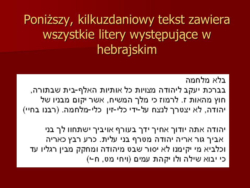 Poniższy, kilkuzdaniowy tekst zawiera wszystkie litery występujące w hebrajskim