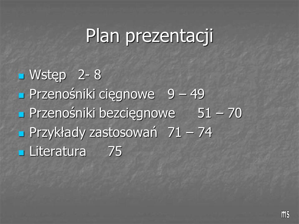 Plan prezentacji Wstęp 2- 8 Przenośniki cięgnowe 9 – 49