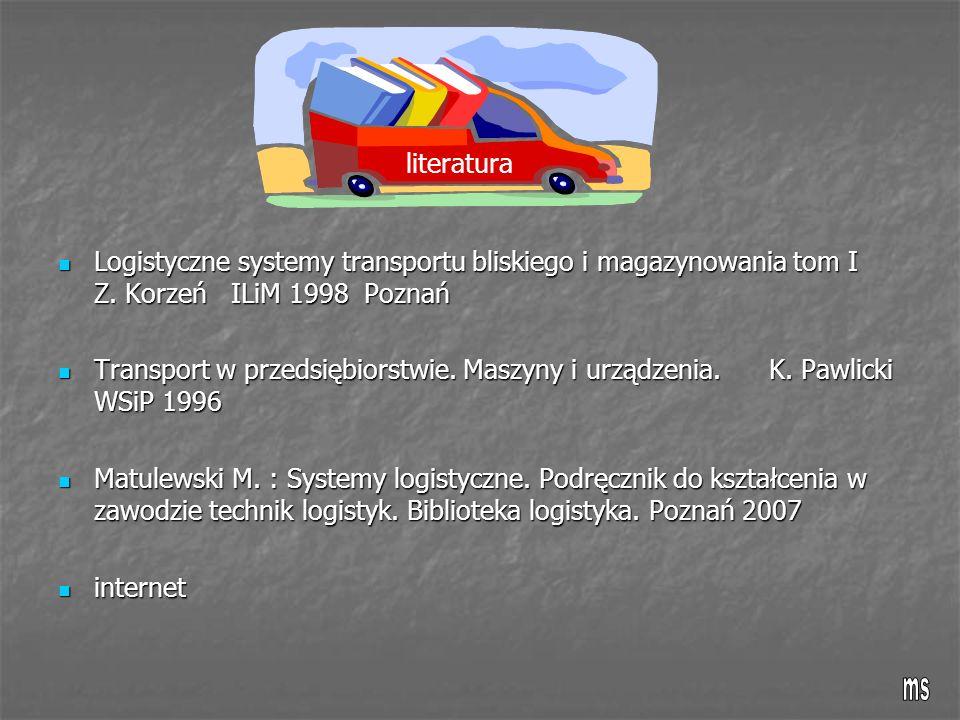 literatura Logistyczne systemy transportu bliskiego i magazynowania tom I Z. Korzeń ILiM 1998 Poznań.