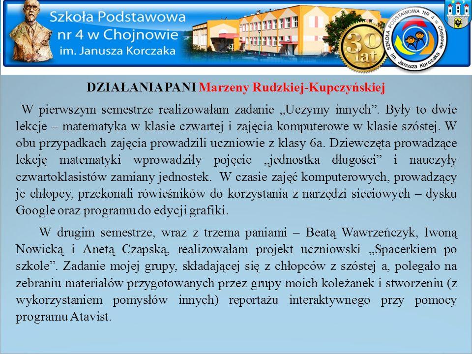 DZIAŁANIA PANI Marzeny Rudzkiej-Kupczyńskiej