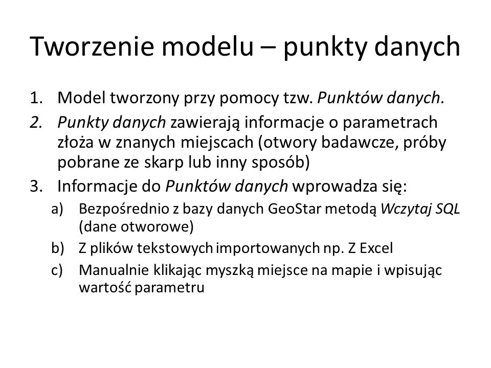 Tworzenie modelu – punkty danych