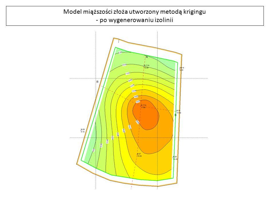 Model miąższości złoża utworzony metodą krigingu
