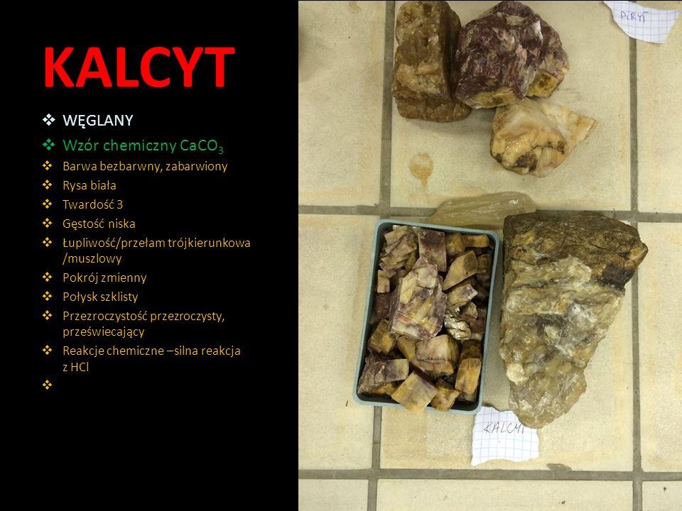 KALCYT WĘGLANY Wzór chemiczny CaCO3 Barwa bezbarwny, zabarwiony