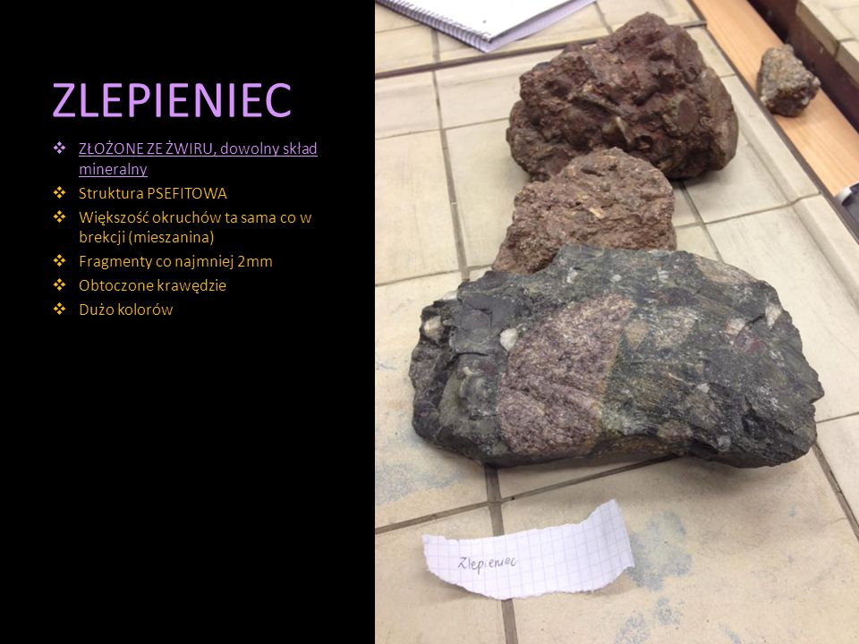 ZLEPIENIEC ZŁOŻONE ZE ŻWIRU, dowolny skład mineralny