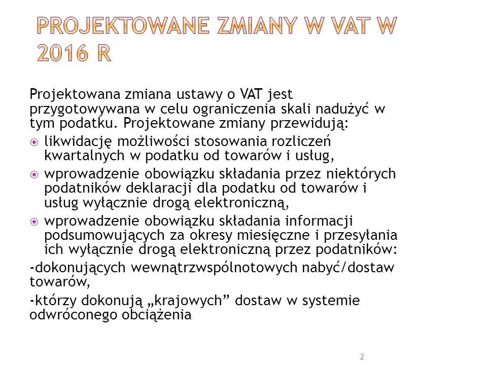 Projektowane zmiany w VAT w 2016 r