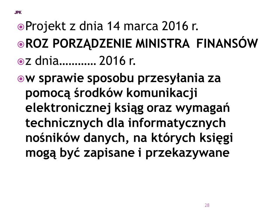 ROZ PORZĄDZENIE MINISTRA FINANSÓW z dnia………… 2016 r.