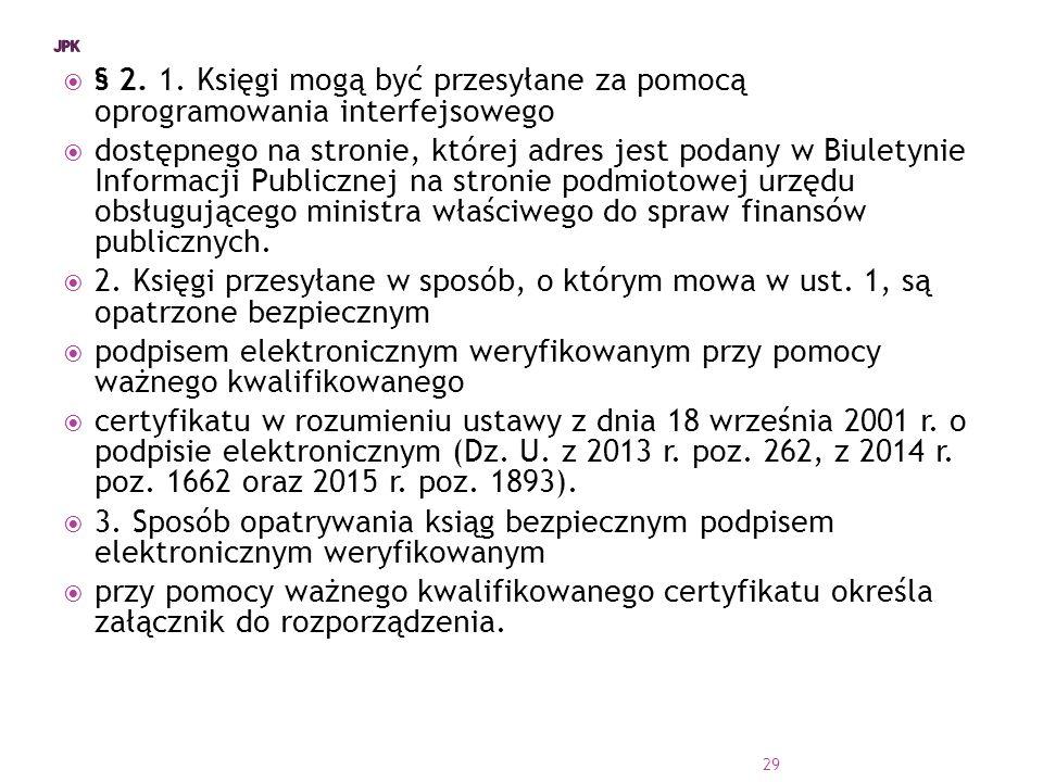 JPK § 2. 1. Księgi mogą być przesyłane za pomocą oprogramowania interfejsowego.
