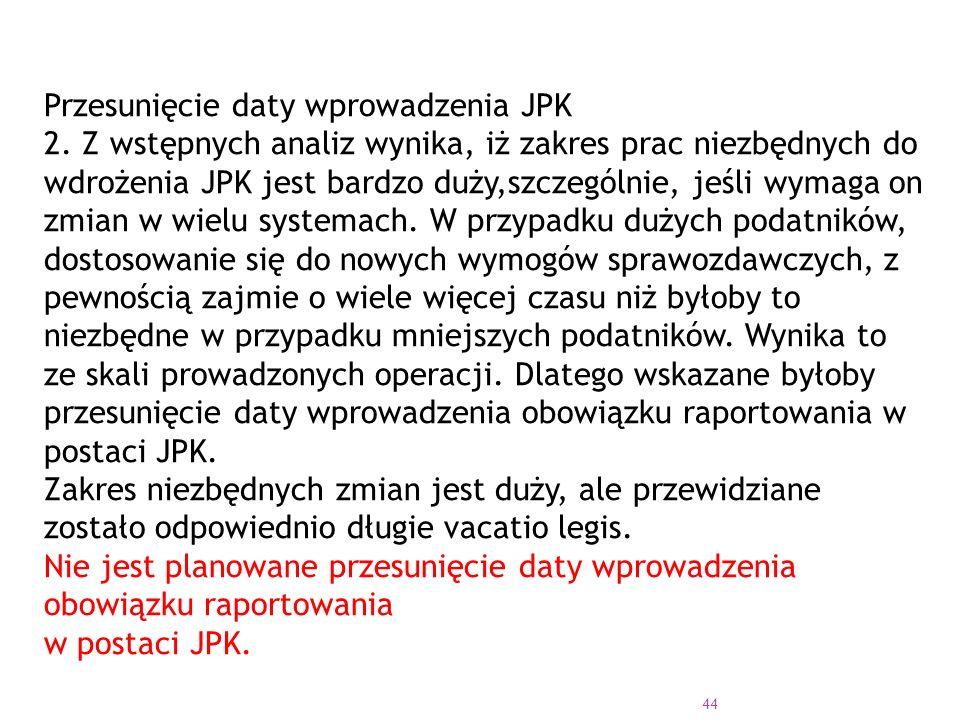 Przesunięcie daty wprowadzenia JPK