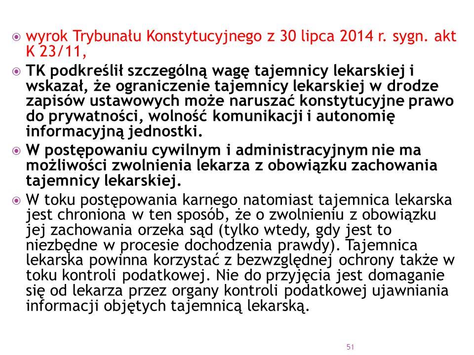 wyrok Trybunału Konstytucyjnego z 30 lipca 2014 r. sygn. akt K 23/11,