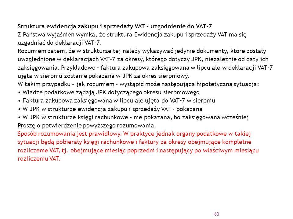 Struktura ewidencja zakupu i sprzedaży VAT – uzgodnienie do VAT-7 Z Państwa wyjaśnień wynika, że struktura Ewidencja zakupu i sprzedaży VAT ma się uzgadniać do deklaracji VAT-7.