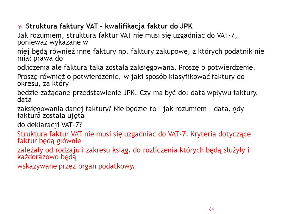 Struktura faktury VAT – kwalifikacja faktur do JPK