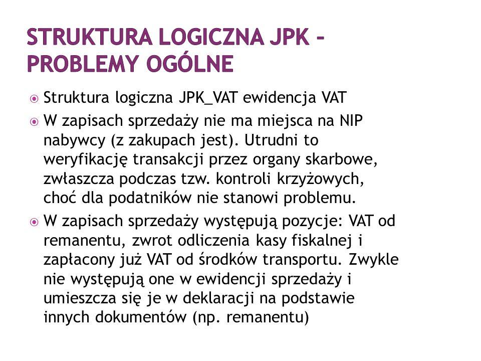 Struktura logiczna JPK – problemy ogólne