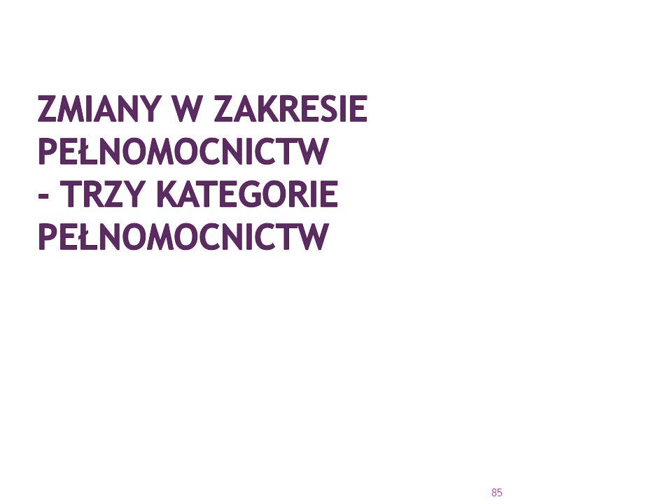 Zmiany w zakresie pełnomocnictw - trzy kategorie pełnomocnictw