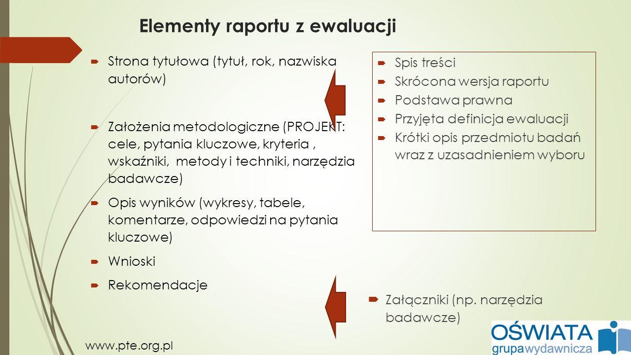 Elementy raportu z ewaluacji