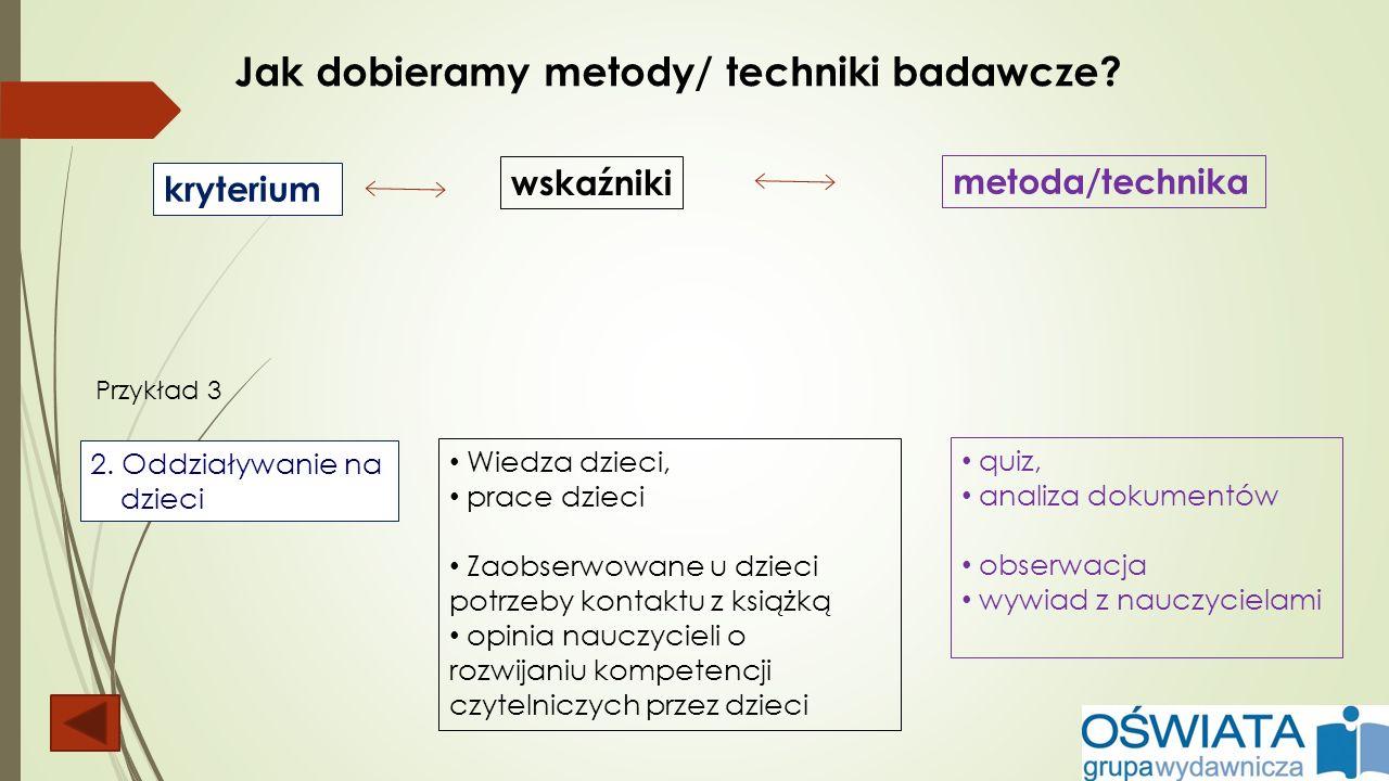 Jak dobieramy metody/ techniki badawcze