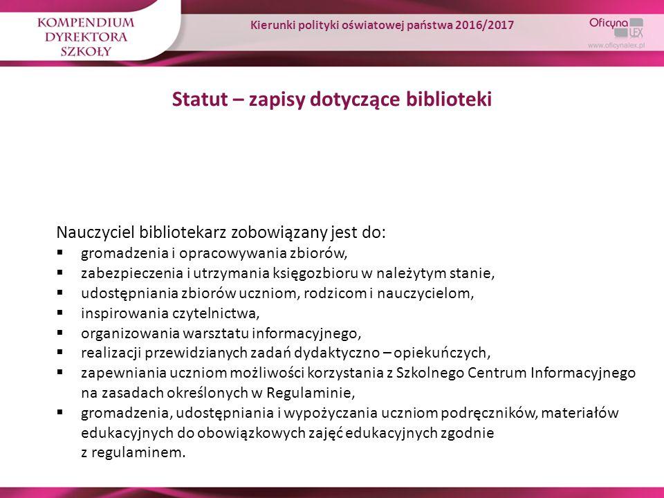Statut – zapisy dotyczące biblioteki