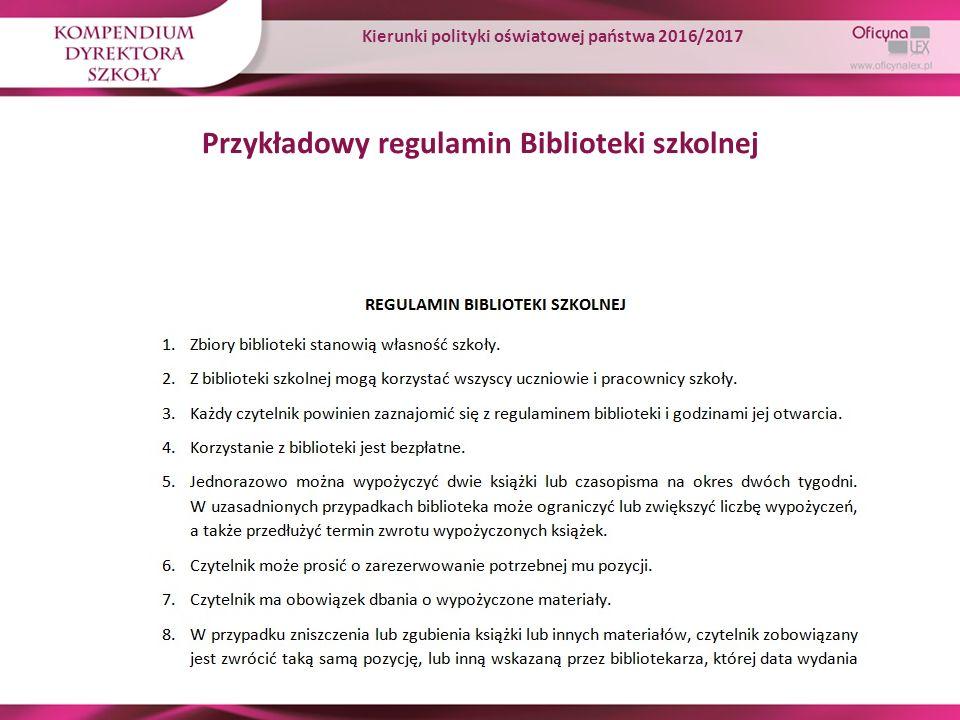 Przykładowy regulamin Biblioteki szkolnej