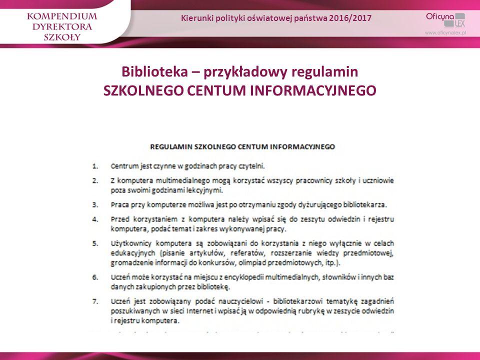 Biblioteka – przykładowy regulamin SZKOLNEGO CENTUM INFORMACYJNEGO