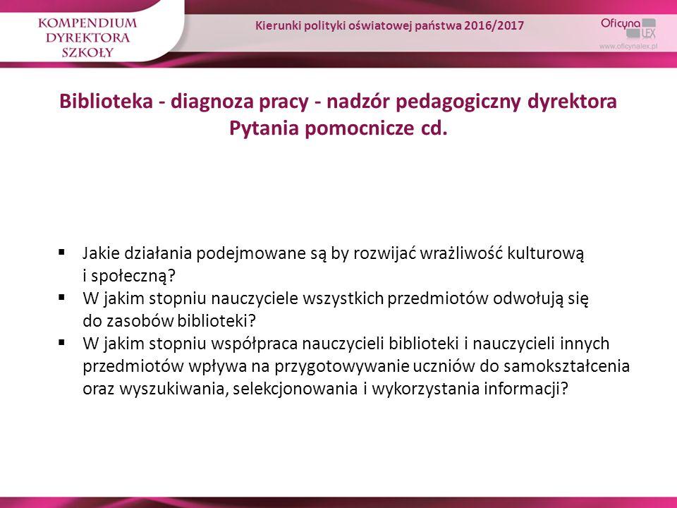 Biblioteka - diagnoza pracy - nadzór pedagogiczny dyrektora