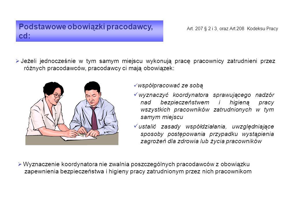 Podstawowe obowiązki pracodawcy, cd: