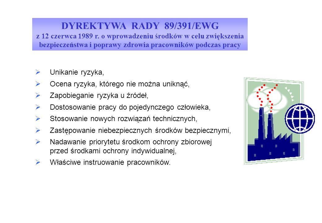 DYREKTYWA RADY 89/391/EWG z 12 czerwca 1989 r. o wprowadzeniu środków w celu zwiększenia bezpieczeństwa i poprawy zdrowia pracowników podczas pracy.