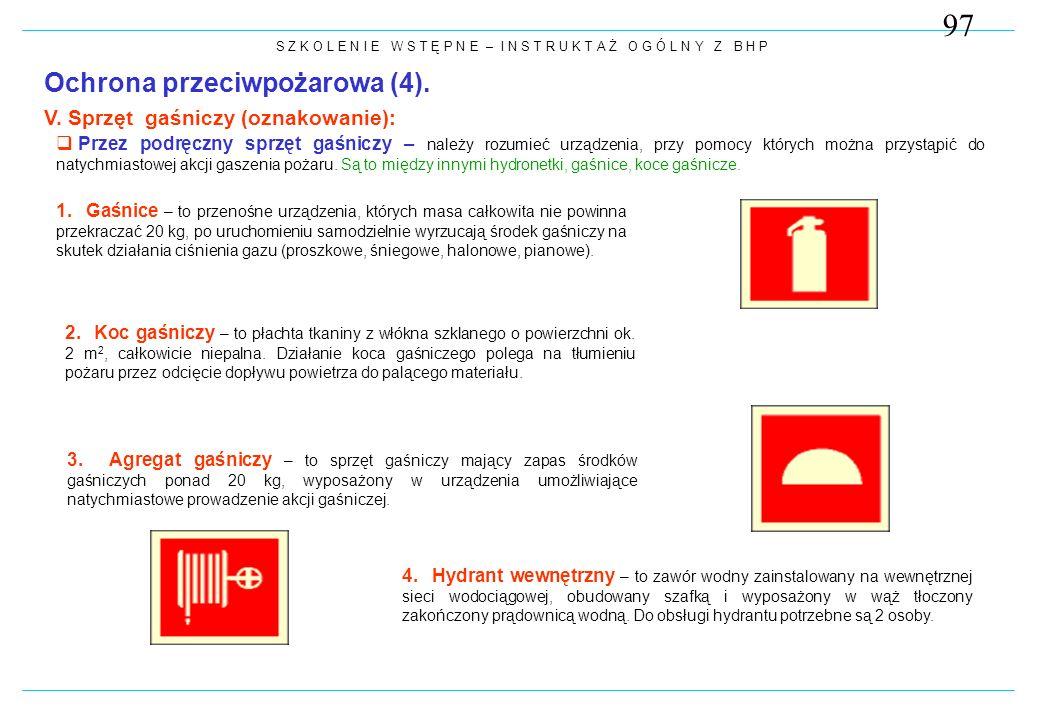 97 Ochrona przeciwpożarowa (4). V. Sprzęt gaśniczy (oznakowanie):