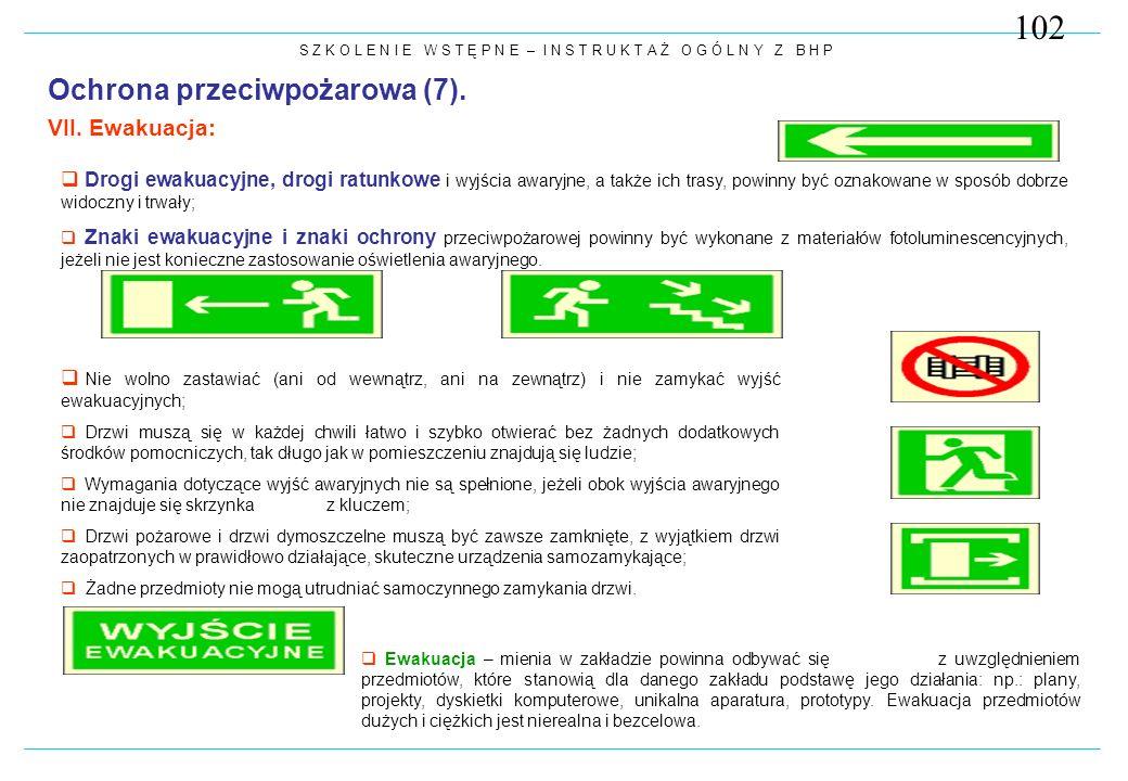 102 Ochrona przeciwpożarowa (7). VII. Ewakuacja: