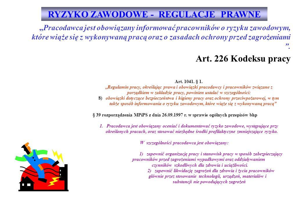 RYZYKO ZAWODOWE - REGULACJE PRAWNE Art. 226 Kodeksu pracy