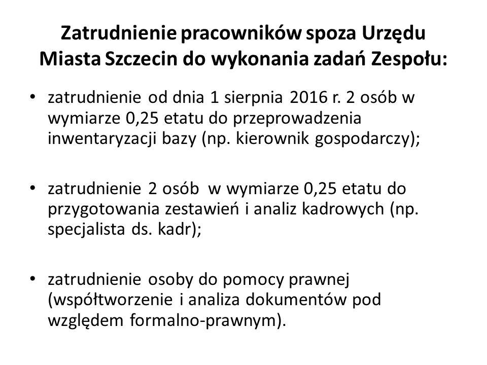 Zatrudnienie pracowników spoza Urzędu Miasta Szczecin do wykonania zadań Zespołu: