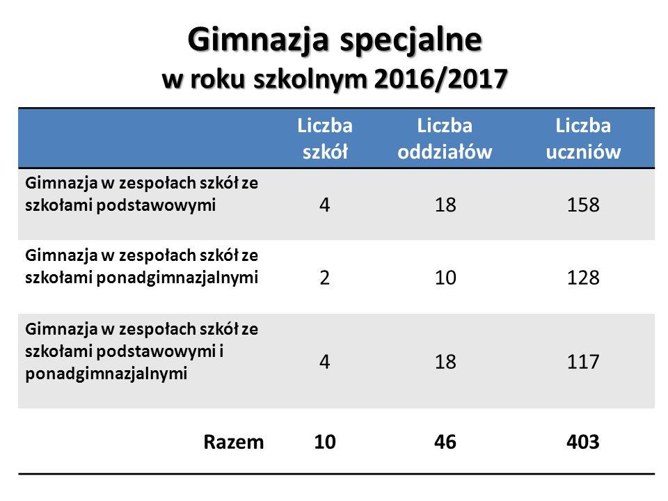 Gimnazja specjalne w roku szkolnym 2016/2017