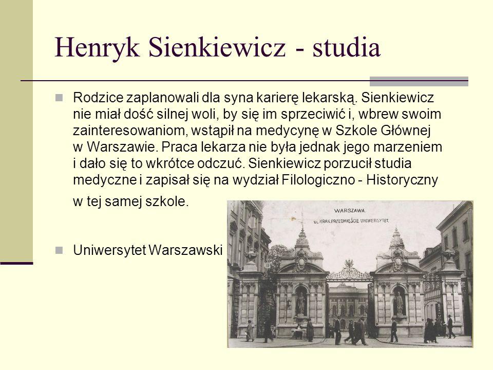 Henryk Sienkiewicz - studia