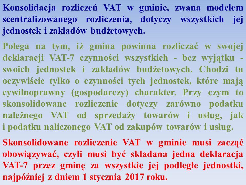 Konsolidacja rozliczeń VAT w gminie, zwana modelem scentralizowanego rozliczenia, dotyczy wszystkich jej jednostek i zakładów budżetowych.