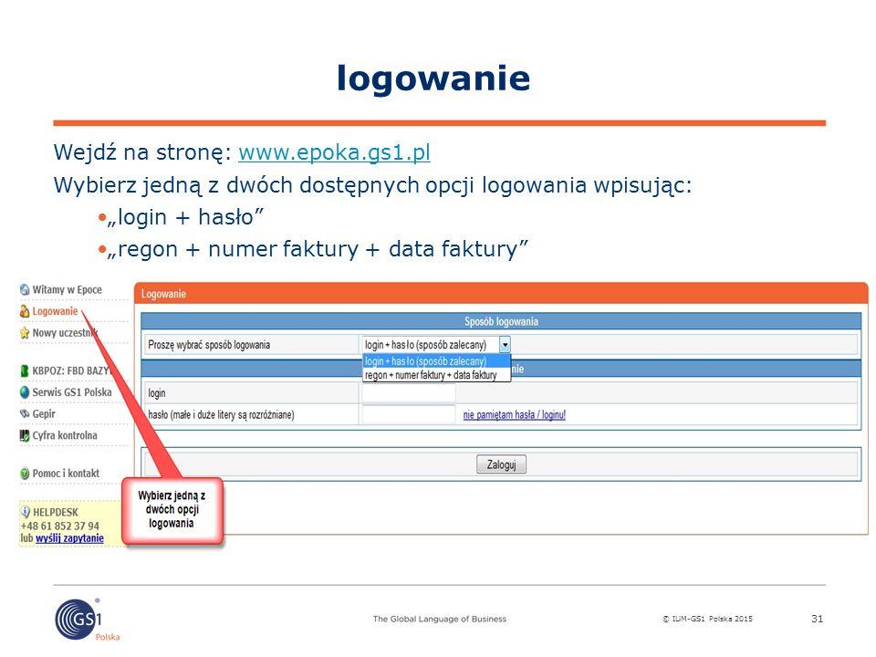 logowanie Wejdź na stronę: www.epoka.gs1.pl
