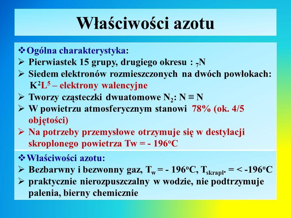 Właściwości azotu Ogólna charakterystyka: