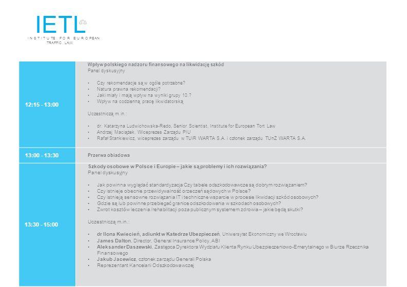 IETL I N S T I T U TE F O R E U R O PEAN TRAFFIC LAW. 12:15 - 13:00. Wpływ polskiego nadzoru finansowego na likwidację szkód.