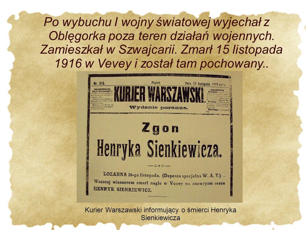 Kurier Warszawski informujący o śmierci Henryka Sienkiewicza