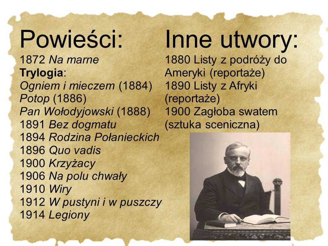 Powieści: Inne utwory: 1872 Na marne Trylogia: Ogniem i mieczem (1884)