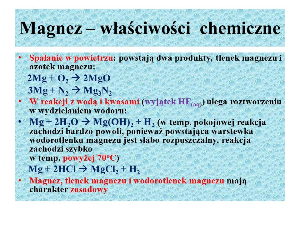 Magnez – właściwości chemiczne