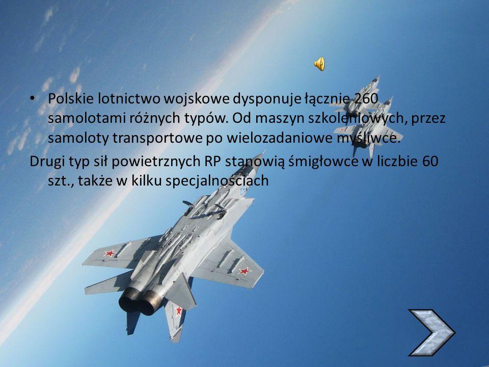 Polskie lotnictwo wojskowe dysponuje łącznie 260 samolotami różnych typów. Od maszyn szkoleniowych, przez samoloty transportowe po wielozadaniowe myśliwce.