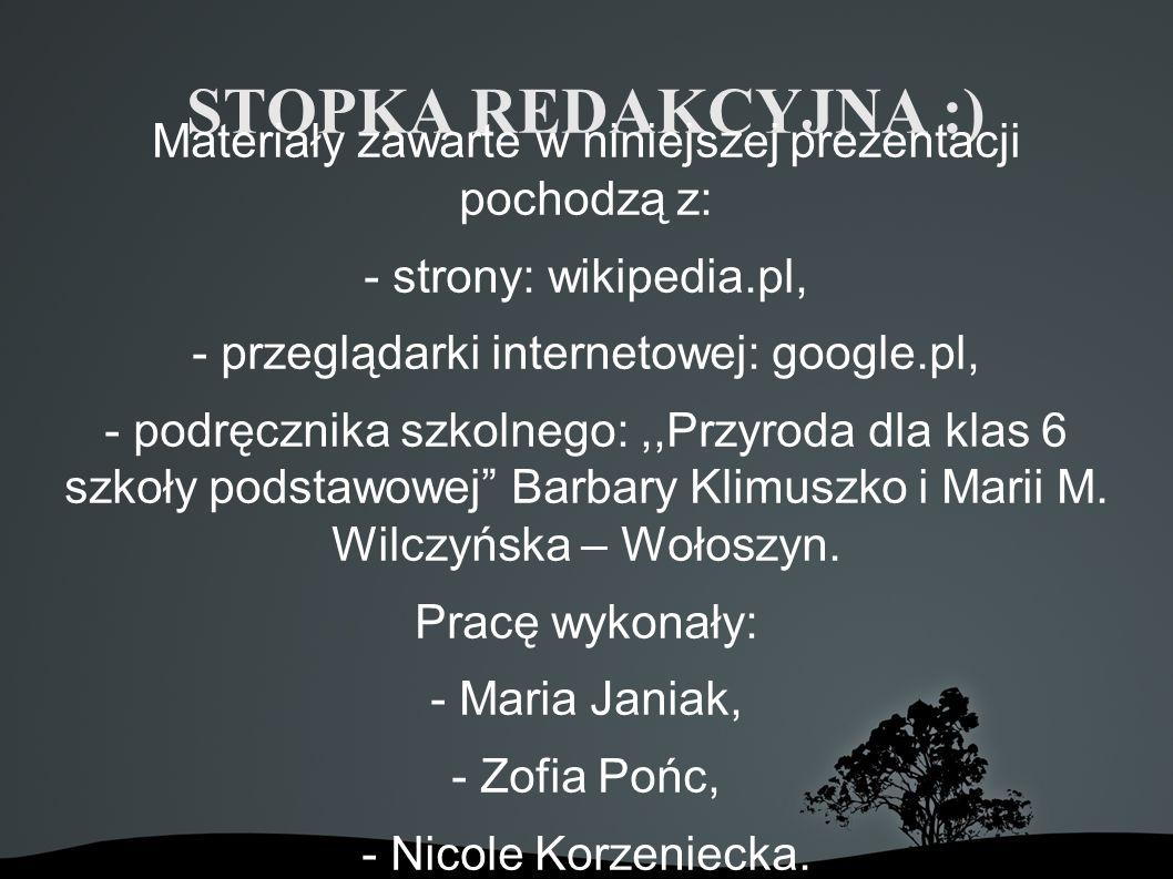 STOPKA REDAKCYJNA :) Materiały zawarte w niniejszej prezentacji pochodzą z: - strony: wikipedia.pl,