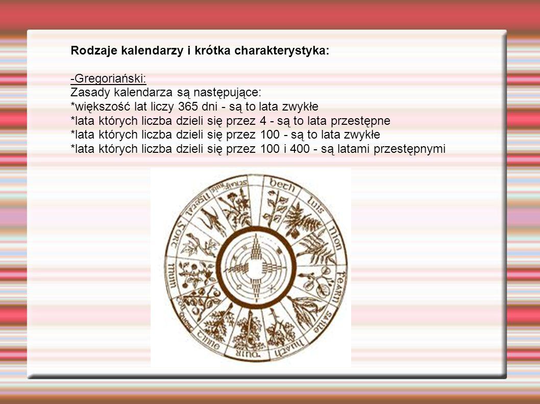 Rodzaje kalendarzy i krótka charakterystyka: