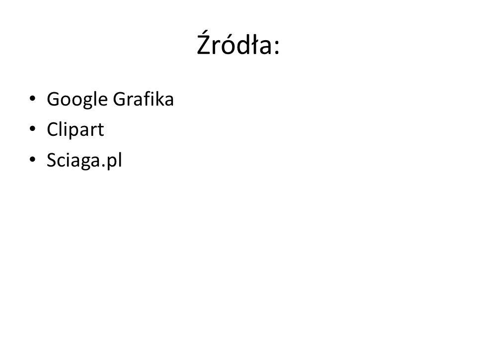 Źródła: Google Grafika Clipart Sciaga.pl