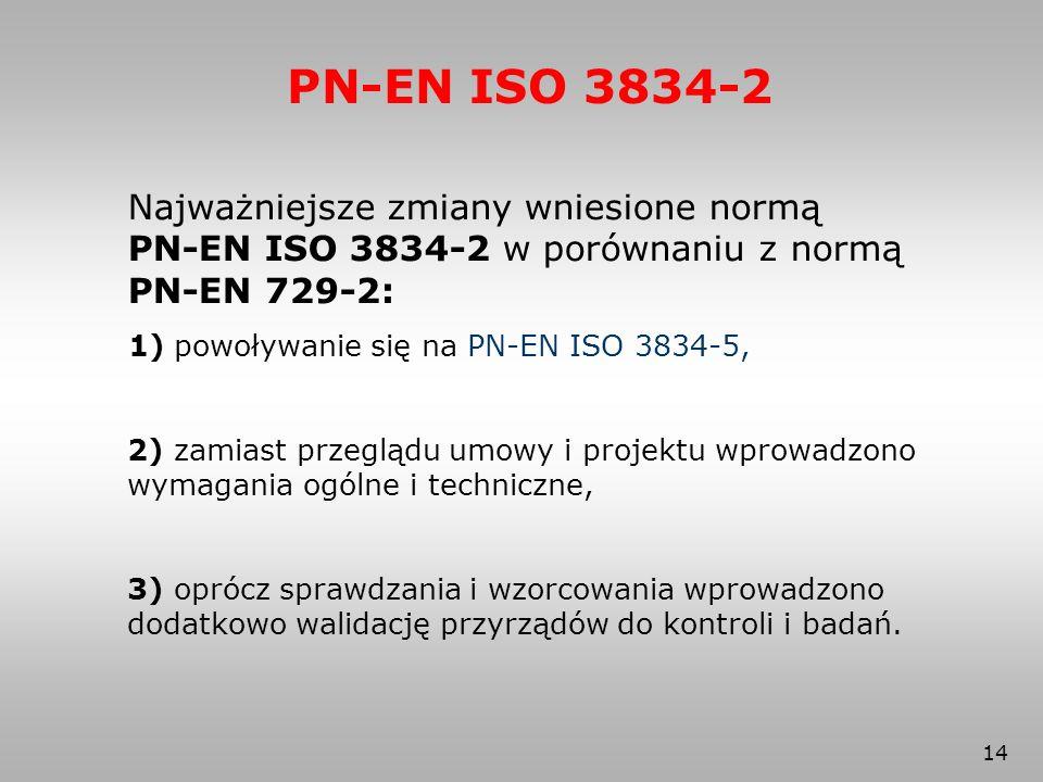 PN-EN ISO 3834-2 Najważniejsze zmiany wniesione normą PN-EN ISO 3834-2 w porównaniu z normą PN-EN 729-2: